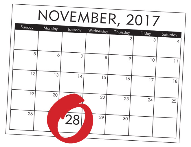 Giving Tuesday Circled on Calendar