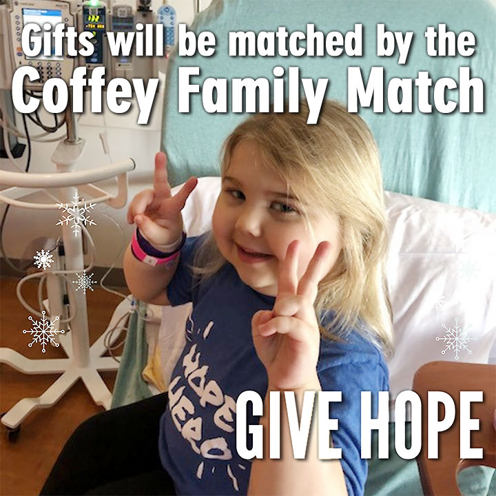 Girl getting treatment , flashing a vistory sign. Gifts will be matched by the Coffey Family Match. Give Hope.